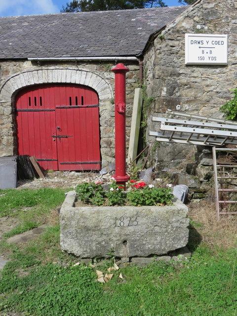 Old water pump at Llwydiarth Esgob Farm, Llanerchymedd