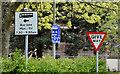 J2767 : Bus lane signs, Queensway, Derriaghy (April 2017) by Albert Bridge
