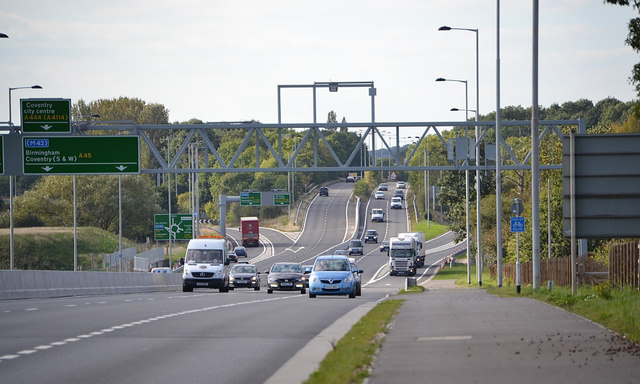Junction of A45, A46 and A444 near River Sowe Bridge, southeast Coventry