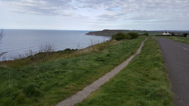 Path next to road on cliff top at Osgodby Hill
