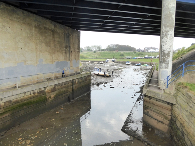 Looking upstream under the road bridge at Seaton Sluice