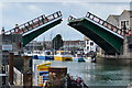 SY6778 : Town Bridge, Weymouth, opening : Week 18