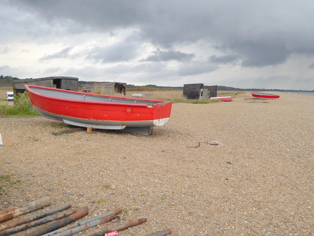 Red boats on Dunwich beach