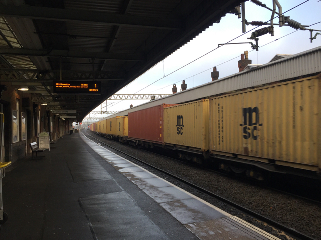 Container freight heading northwest at Nuneaton