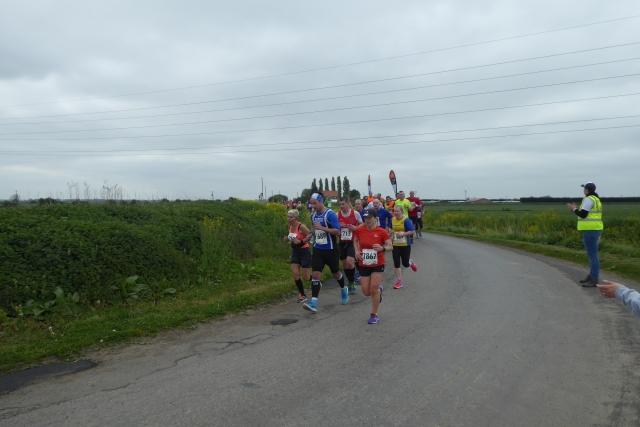Runners rounding the corner