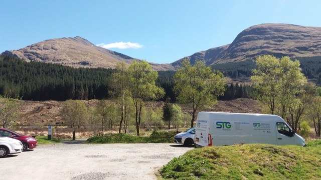 Forestry Commission car park in Glen Lochy
