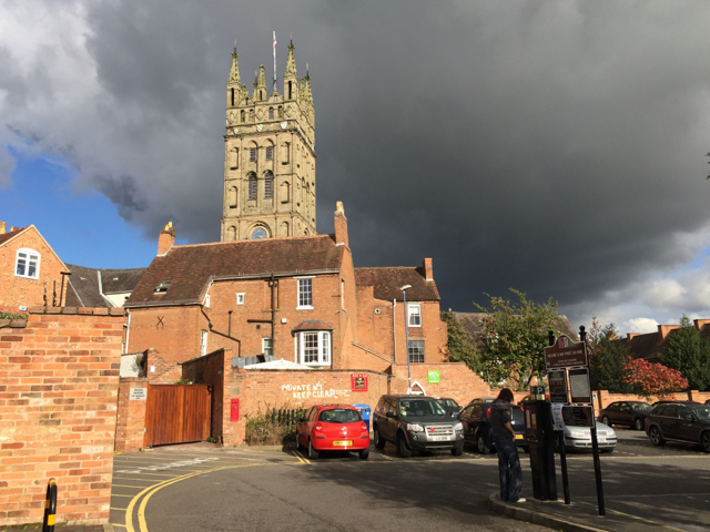 The tower of St Mary's Church seen from New Street car park, Warwick