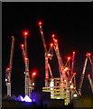 TQ3080 : Cranes at Waterloo by night : Week 20