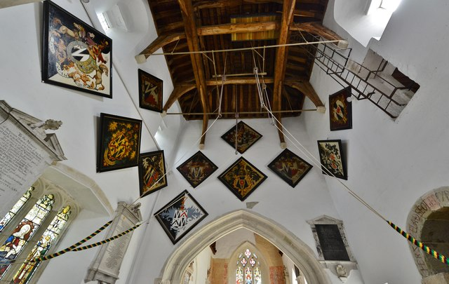 Breamore, St. Mary's Church: The large number of hatchments in the tower