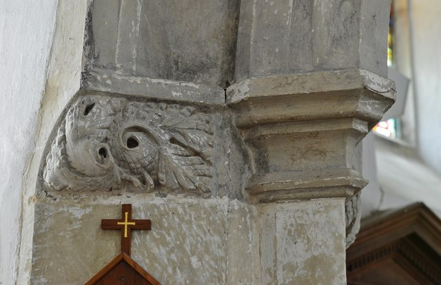 Breamore, St. Mary's Church: Foliate capital from the south side of the tower arch