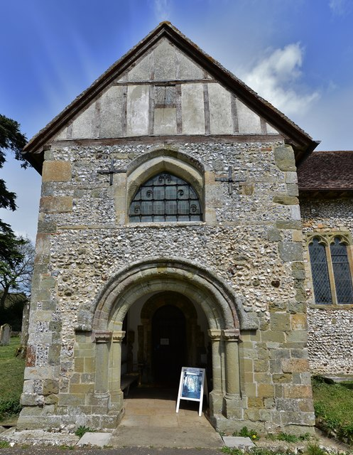 Breamore, St. Mary's Church: The c12th south porch