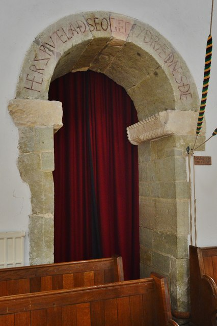 Breamore, St. Mary's Church: The Anglo Saxon south porticus door with an inscription over 1,000 years old