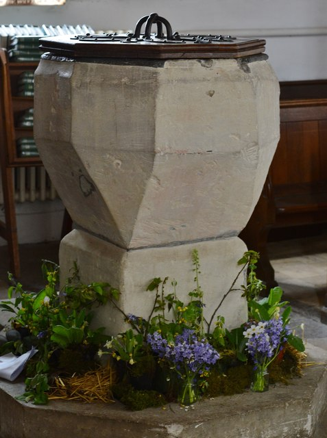 Breamore, St. Mary's Church: The font