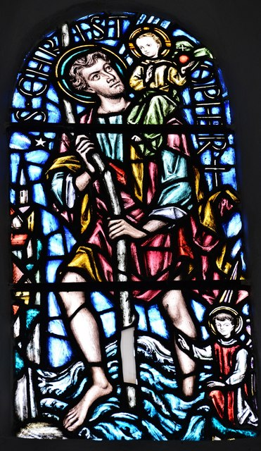 Breamore, St. Mary's Church: St. Christopher window