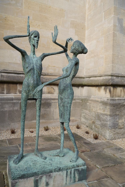 Statue of Christ and Mary Magdalen, Chaplain's Quad, Magdalen College