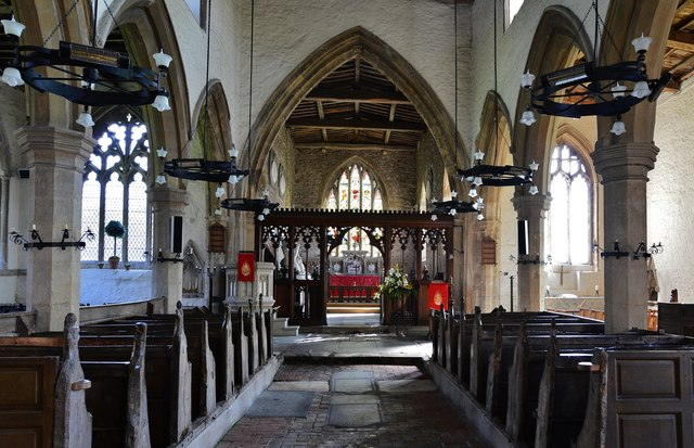 Gaddesby, St. Luke's Church: The nave with its medieval pews 1