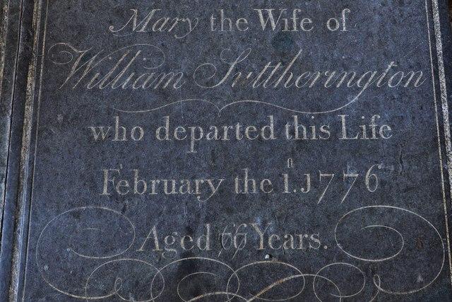 Gaddesby, St. Luke's Church: Beautifully carved ledger slab