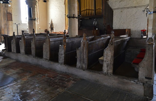Gaddesby, St. Luke's Church: Medieval pews 1