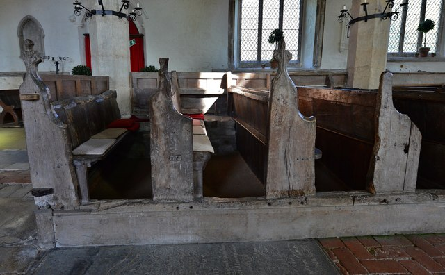 Gaddesby, St. Luke's Church: Medieval pews 2