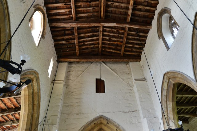 Gaddesby, St. Luke's Church: The west wall showing the original roof line