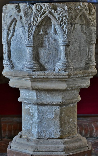Gaddesby, St. Luke's Church: The font, thought to be early c14th 3