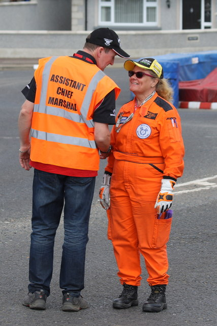 Marshals swap stories at the Mill Road roundabout