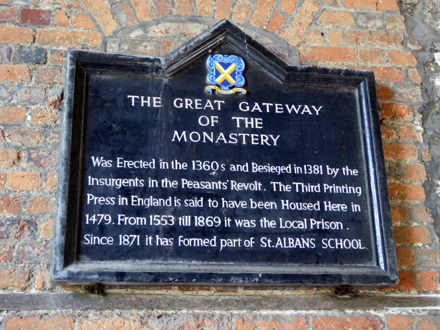 Explanatory board, ancient gateway, St Albans