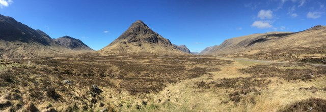 Wide angle view towards Stob Coire Raineach and Glencoe