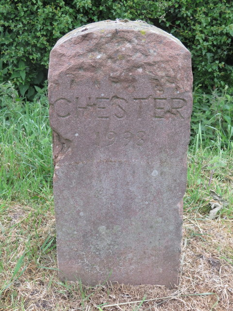 CHESTER 1998 boundary stone on the A548