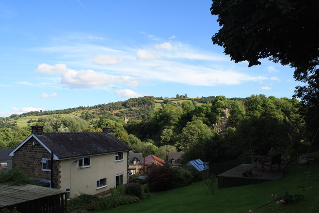 View towards Riber Castle from above Holt Lane
