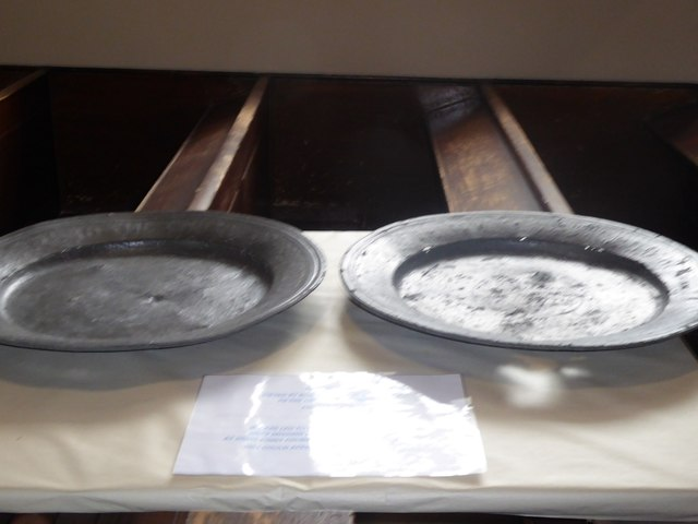 A display of 19th century pewter plate
