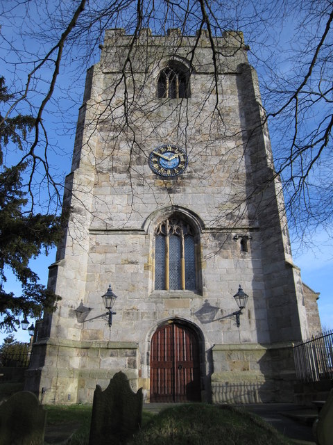 The tower of the parish church of St Cynfarch, Hope