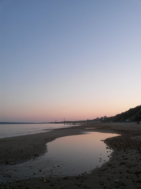 Bournemouth: tidal pool below a clear sky