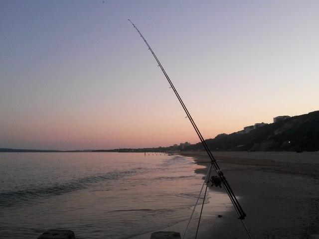 Bournemouth: fishing rod at groyne 18