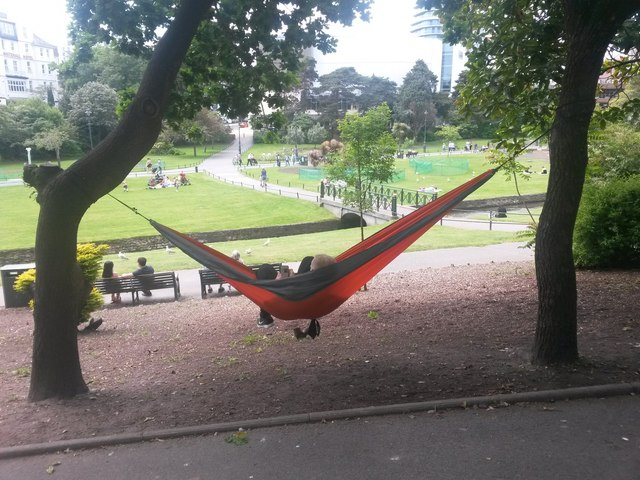 Bournemouth: a man with a hammock