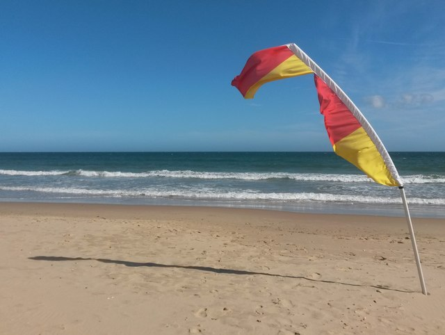 Westbourne: a windswept lifeguard flag