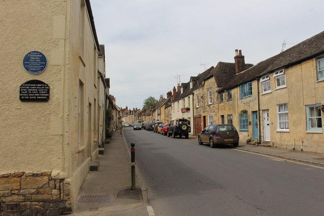 Blue plaque for Christopher Merrett on the corner of Mill Lane