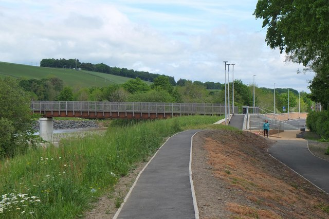 Embankment and footbridge, Selkirk