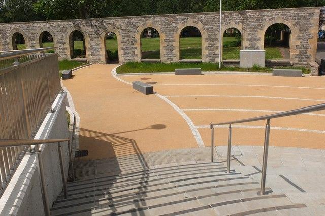 Amphitheatre space by the footbridge, Selkirk