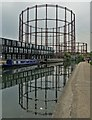 TQ3483 : Bethnal Green Gas Holders by Regent's Canal : Week 22