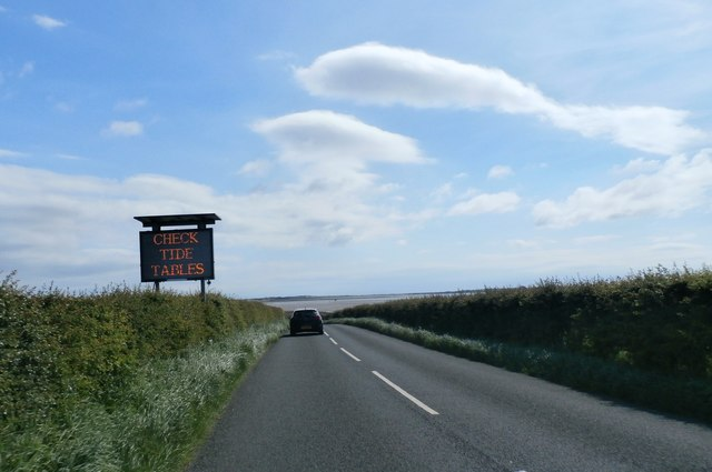 Warning Sign approaching Lindisfarne Causeway