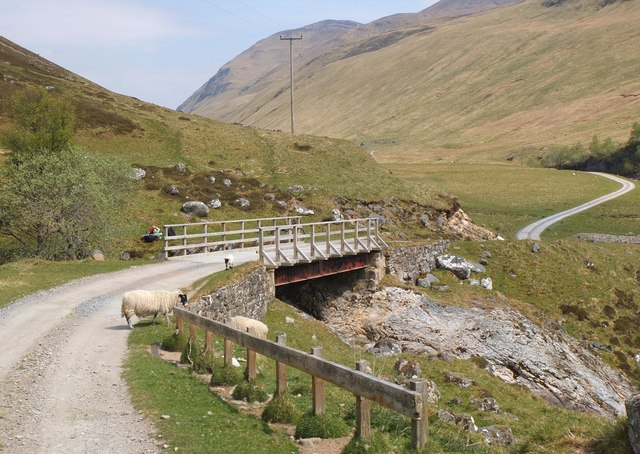 Track and bridge over the Allt Craoinidh
