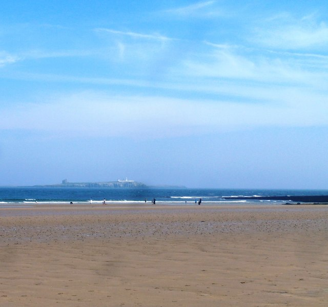 Bamburgh Beach with the Farne Islands distant