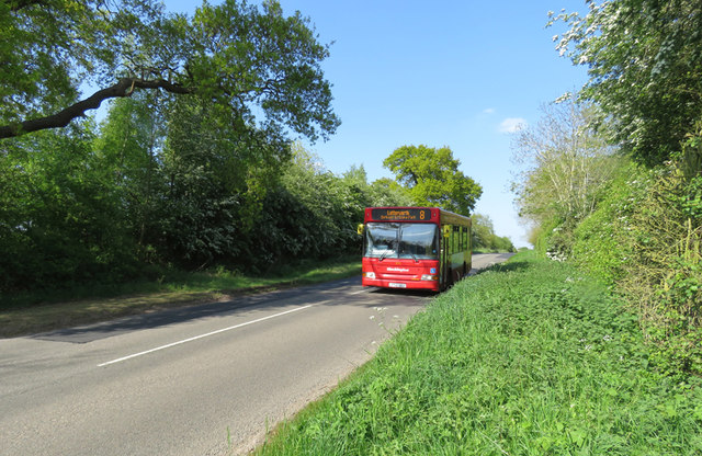Number 8 bus approaching on Mere Lane from Ashby Parva direction