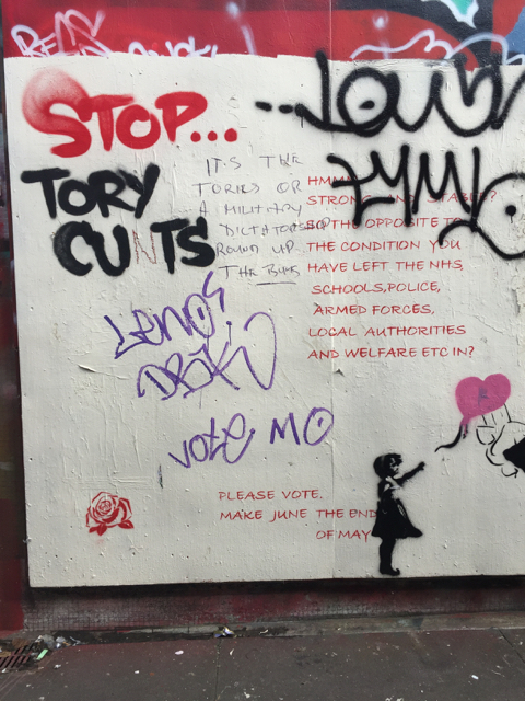 Political graffiti in the Bearpit, Bristol