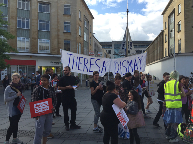 Small political march in Broadmead, Bristol