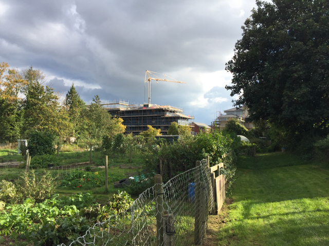 More flats on the Waterfront site, seen from Potterton's allotments, east Warwick