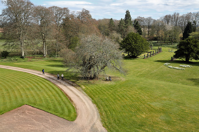 Bemersyde House gardens from the tower house
