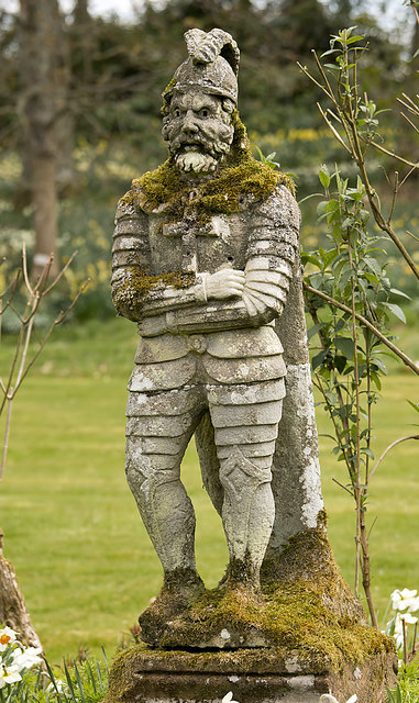 A statue called Wattie at Bemersyde House Gardens