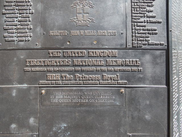 Plaque on Firefighters Memorial, London